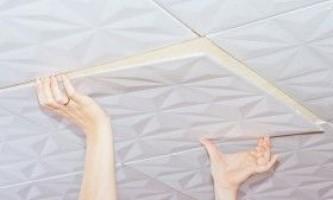 Як клеїти стельову плитку
