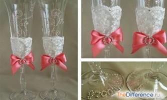 Як прикрасити весільні келихи своїми руками?