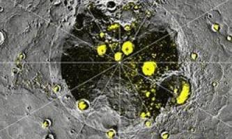 На полюсах меркурій виявлений лід