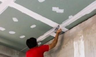 Шпаклівка стелі з гіпсокартону: покрокова інструкція